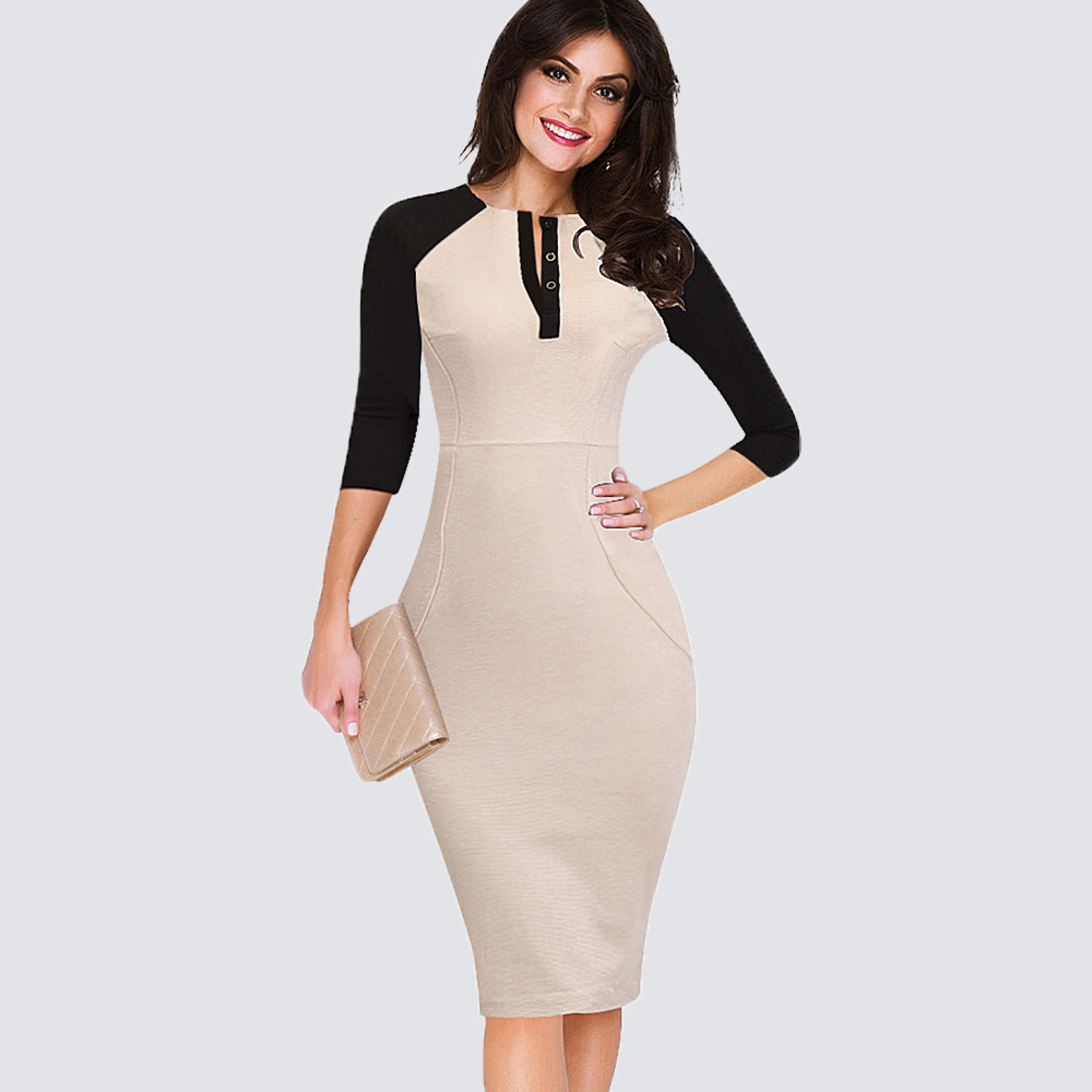 Women Casual Sheath Patchwork Bodycon Pencil Work Business Office Dress  1H280 a0dbf7b02737