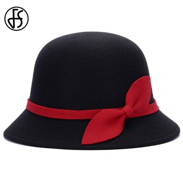 FS Arco Cloche Chapéu Do Inverno Das Mulheres Da Forma Do Vintage Das  Senhoras chapéu de 35936702cd4