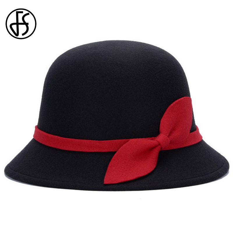 FS Bow Cloche Hat Winter Vintage Fashion Women Fedora Black Ladies Felt Fedoras Chapeu Feminino Church Hats