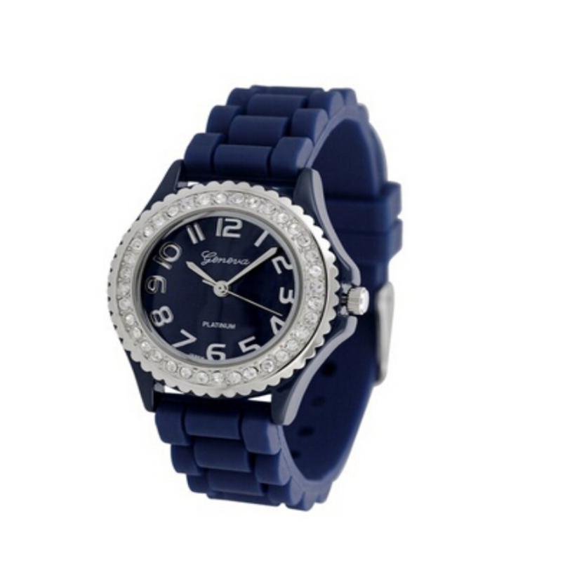 Excellent Quality New Fashion Brand Geneva Casual Quartz Watch Women Crystal Silicone Watches Relogio Feminino Dress Wrist Watch