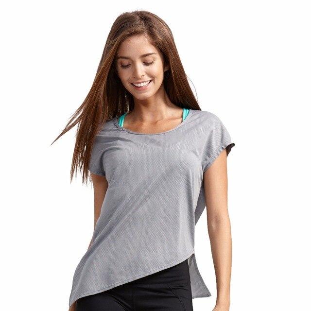 Syprem de malla de deportes camiseta mujer de Yoga de manga corta Tops  deportivos Fitness e834de3c4e8e