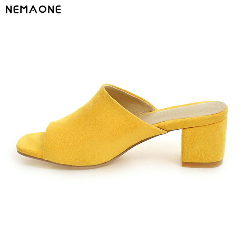 NEMAONE New fashion women sandals thick heel sandals casual summer shoes woman high heels women slippers size 33-43 nemaone new flat women slippers suede leather sandals woman summer style pearl beath women shoes black apricot pink green