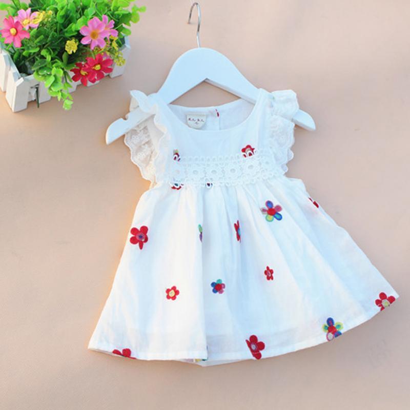 Baby Girls Dress Summer Embroidery Flower Strawberry Cotton Baby Dress Newborn Baby Princess Birthday Dress For Girls