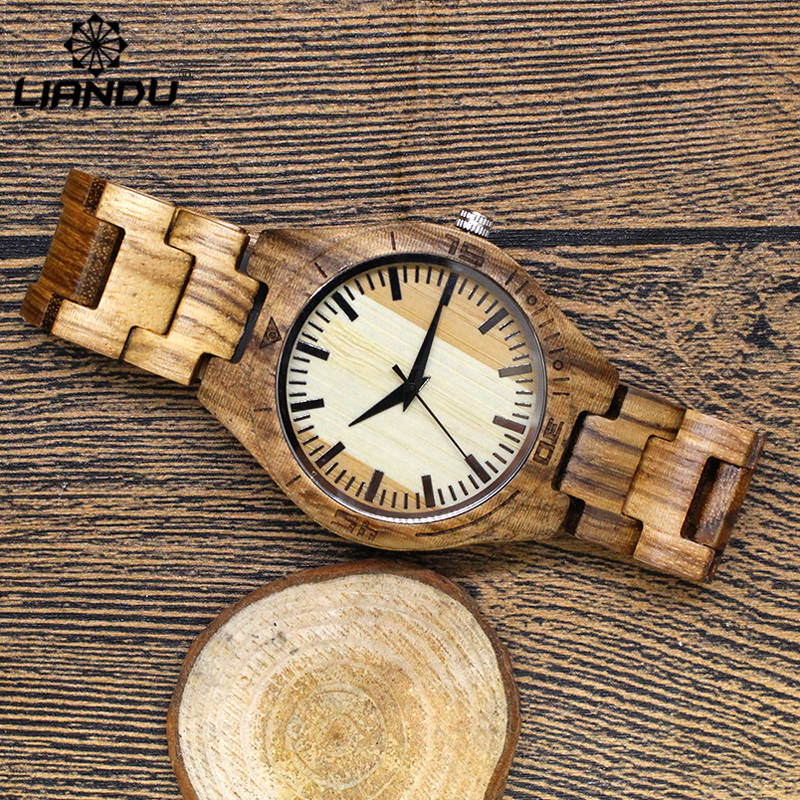 LIANDU Hot Luxury Brand Bamboo Wood Watches Men and Women Classic Quartz Watch Fashion Casual Wooden Strap Wristwatch Male Gifts skone brand men s bamboo watches women s wooden wristwatches unisex quartz watch luxury casual fashion relogios masculinos