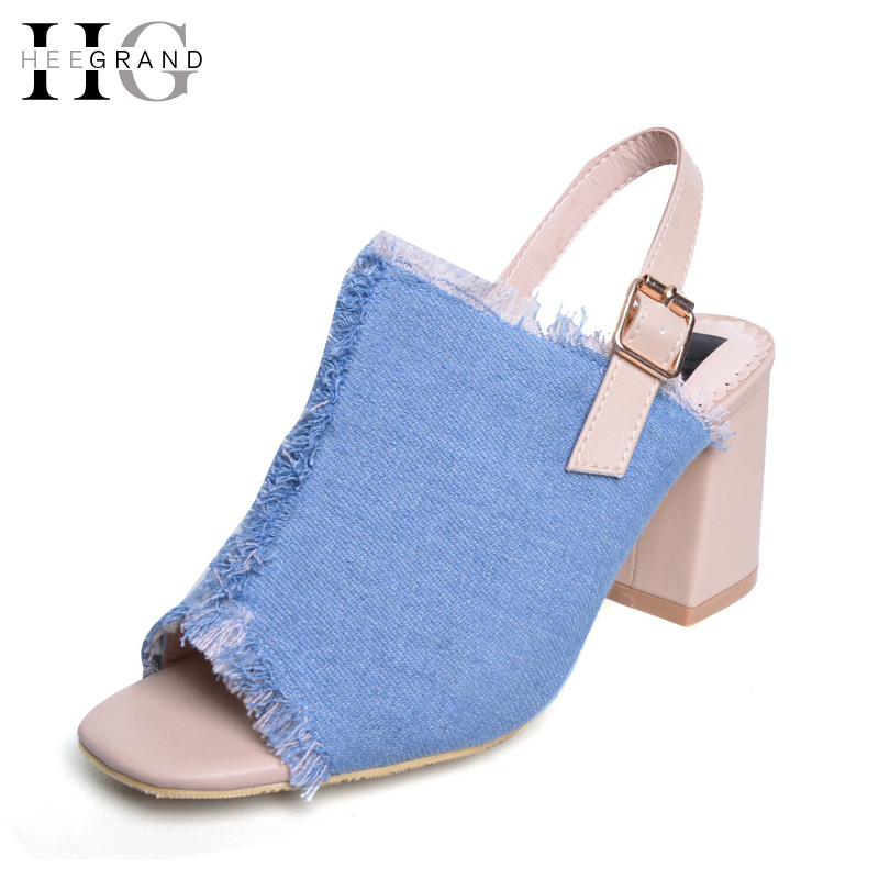 HEE GRAND Summer Women Sandals 2017 Sexy High Heels Platform Canvas Shoes Woman Denim Pumps Casual Peep Toe Women Shoes XWZ3959 hee grand summer glitter gladiator sandals 2017 casual wedges bling platform shoes woman sexy high heels beach creepers xwx5813