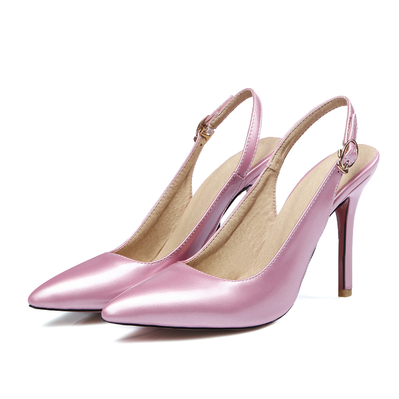 South Korea party style sexy pointed toe nightclub sandals belt buckle red pink purple black high-heeled women's shoes big size