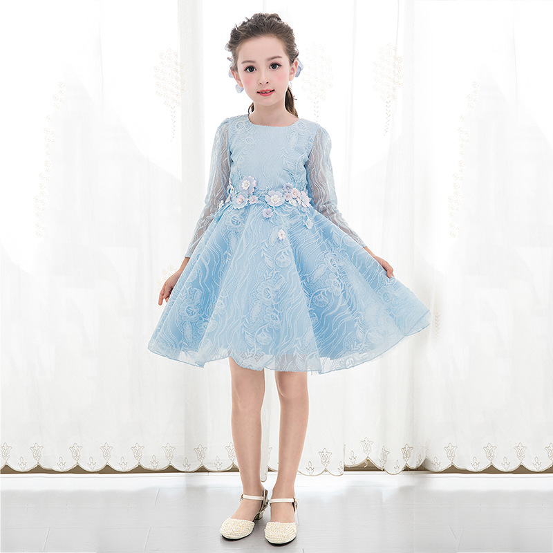 Christmas Dresses For Girls Long Sleeve Blue Princess Flower Kids Costume Girl Birthday Party Fancy Ball Gown Wedding Clothes