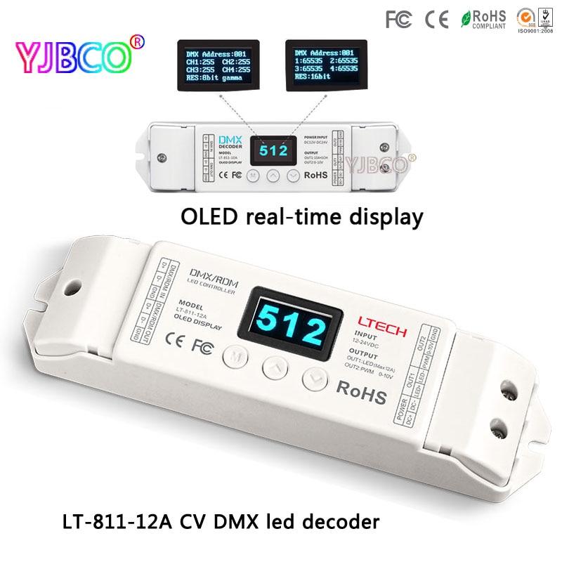 LTECH led controller LT-811-12A;1CH CV DMX Decoder;16bit/8bit input;DC12V input;12A*1CH+0-10V*1CH+10V PWM*1CH ouput dmx512 digital display 24ch dmx address controller dc5v 24v each ch max 3a 8 groups rgb controller