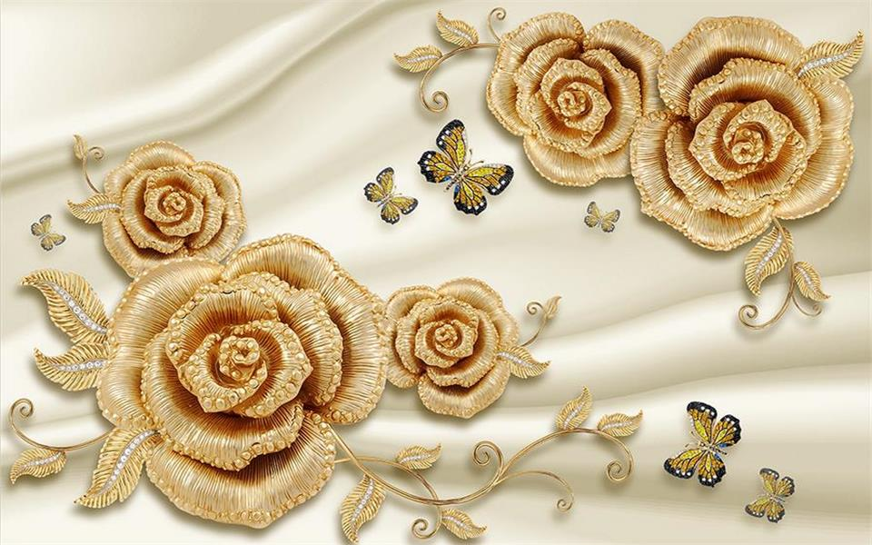 3d Wallpaper Photo Custom Mural Living Room Gold Rose Diamond Butterfly Painting Background For Walls In Wallpapers From Home