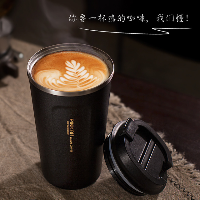 Pinkah 380 & 500ml 304 Stainless Steel Thermo Cup Travel Coffee Mug with Lid Car Water Bottle  Vacuum Flasks Thermocup for Gift  3