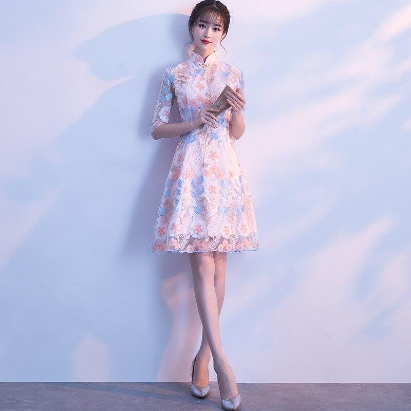 Sexy Female Three Quarter Sleeve Cheongsam Improved Chinese Style Dress Vintage Embroidery Flower Women Qipao Vestidos XS-XXL