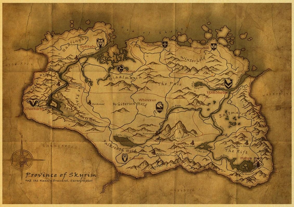 Game poster The Elder Scrolls V Skyrim retro Kraft wallpaper home ...