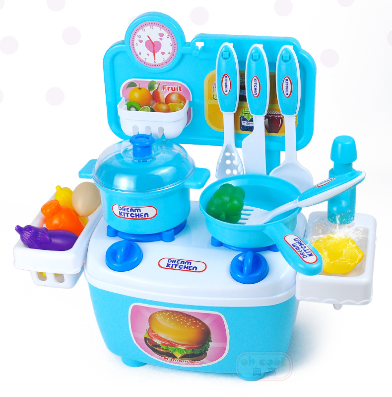 Kitchen Table Play Set Children House Play Food Cooking Tools Toys Kids DIY Educational Xmas Gift