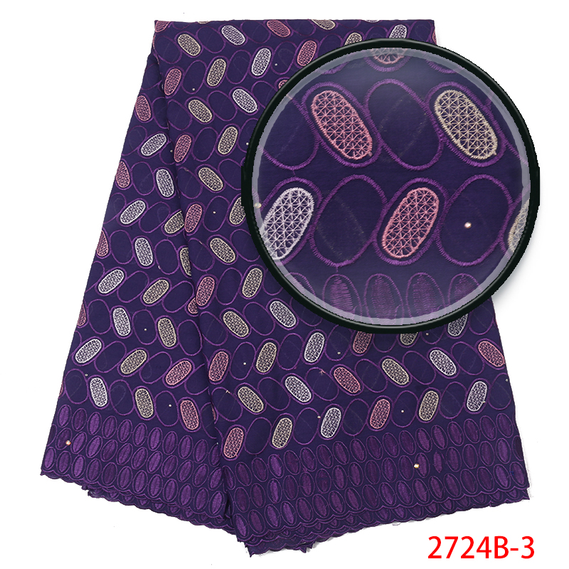 High Quality Swiss Voile Lace In Switzerland,African Swiss Lace Fabric 2018, Pruple Embroidered Cotton With Stones KS2724B-3