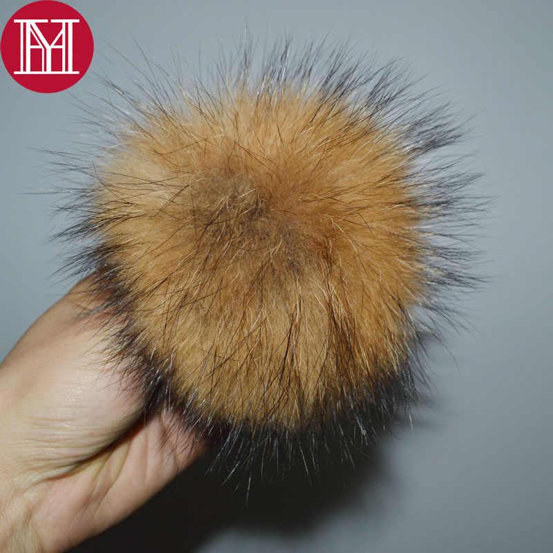 12 cm 100% Real Pele De Guaxinim Pompons bolas de pêlo de luxo Verdadeira Pele Pom Pom para o Saco Chapéus Luvas Cachecol Cap em anexo o Ferrolho