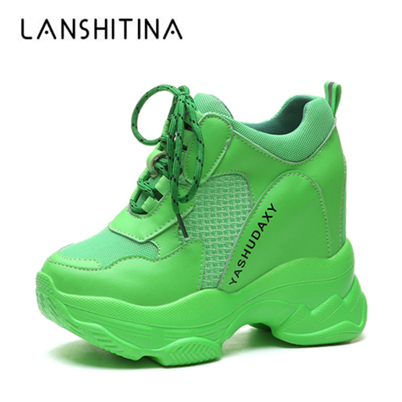New Autumn Breathable Women Casual Shoes Fashion High Heels Women Wedges Heels Sneakers 11 CM Thick Sole Trainers Platform Shoes