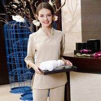 2018 New Arrivals Hospital Guide Nurse Uniform Elegant Beige Technician Clothing Health Club SPA Workwear Beautician Appreal