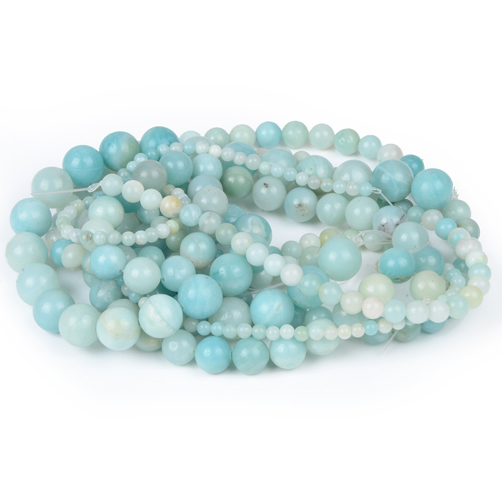 Crazy White Single Color Amazonite Beads Women Jewelry DIY Fashion Making Beads 4 6 8 10 12mm