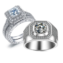 2018 New Arrival Top Selling Sparkling Luxury Jewelry 10KT White Gold Filled Princess 5A Cubic Zirconia Women Men Wedding Ring