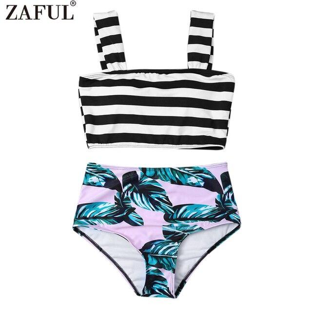 f58261d6f956b Zaful 2017 Women New Tropical Print High Waisted Bikini with Crop Top  Square Unlined Swimsuit Summer Beach Swimwear Biquni