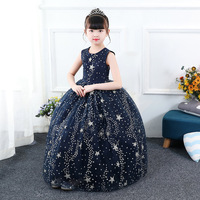 Formal Girls Long Dress Star Princess Evening Dresses Pageant Kids Performance Show Party Ball Gown Children Vintage Frock 51A1A