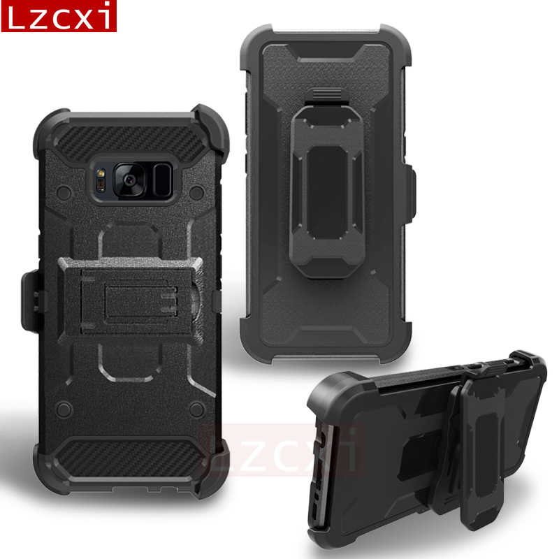new product 025ec af91d 360 Full Armor Case For Samsung Galaxy S9 S8 Plus Note 8 PC + Silicone  Military Grade Outdoor Protection Belt Clip Cover Funda