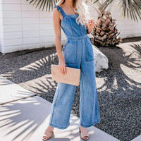 New Arrival Denim Jumpsuit Women Fashion Casual Washed Spaghetti Straps Suspenders Cowgirl Long Summer Girls Rompers Streetwear