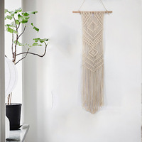 Crocheted Hand Knotted Macrame Wall Art Handmade Cotton Boho Wall Hanging Tapestry with Lace Bohemian Wedding Decoration Modern