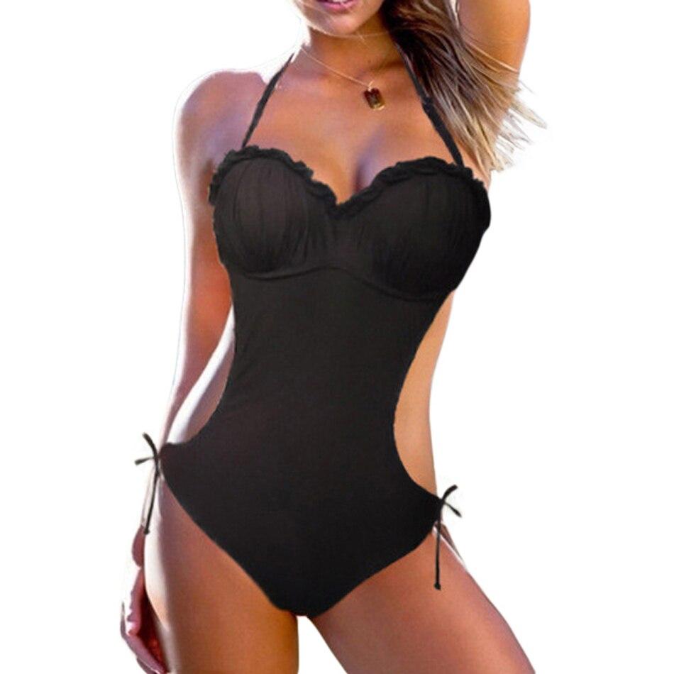 Le donne un pezzo nero costume da bagno Curvy Plus Size beachwear