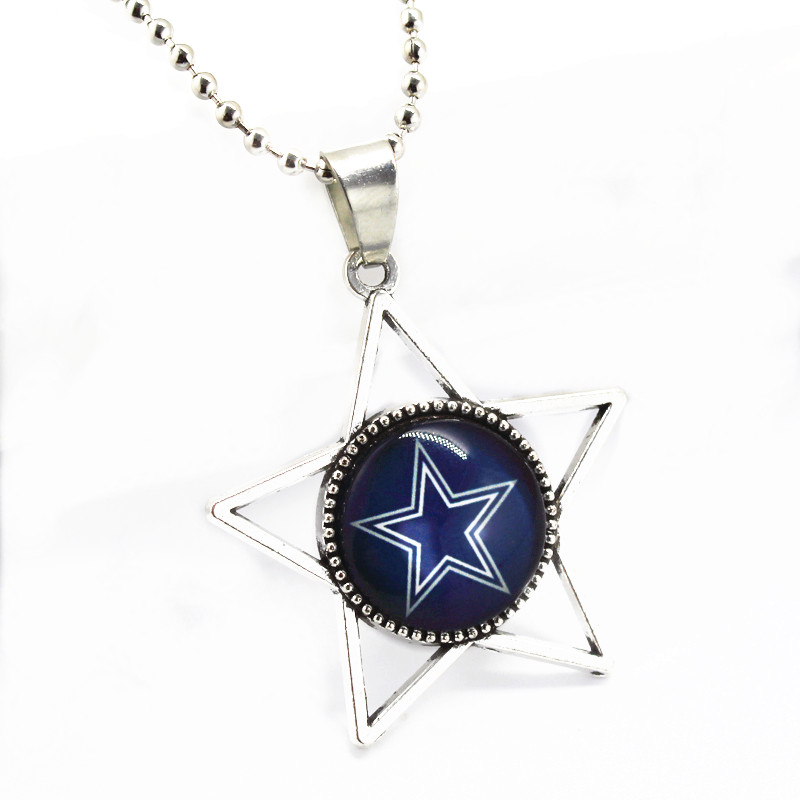 Newest 10pcs/lot Sports Star Glass Pendant Dallas Cowboys Football Team With 45cm Silver Beads Chains Necklace Fashion Jewelty