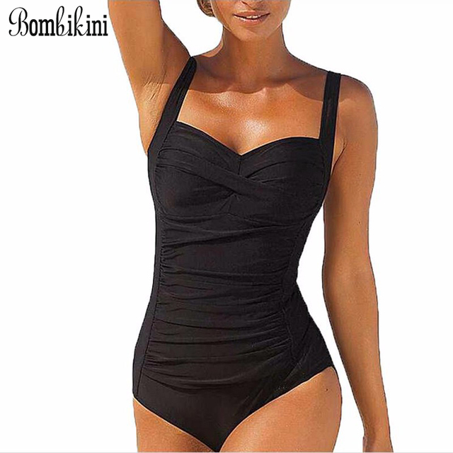 2a9952cb301 Women Swimwear Large Size One Piece Swimsuit Push Up Monokini Front Fold  Bathing Suit Retro Bodysuit Plus Size Swim Wear