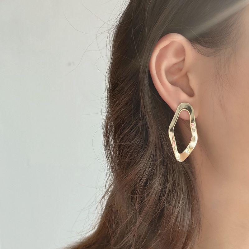 Silvology 925 Sterling Silver Irregular Stud Earrings Gold Openwork Designer Creative Modern Earrings For Women Elegant Jewelry