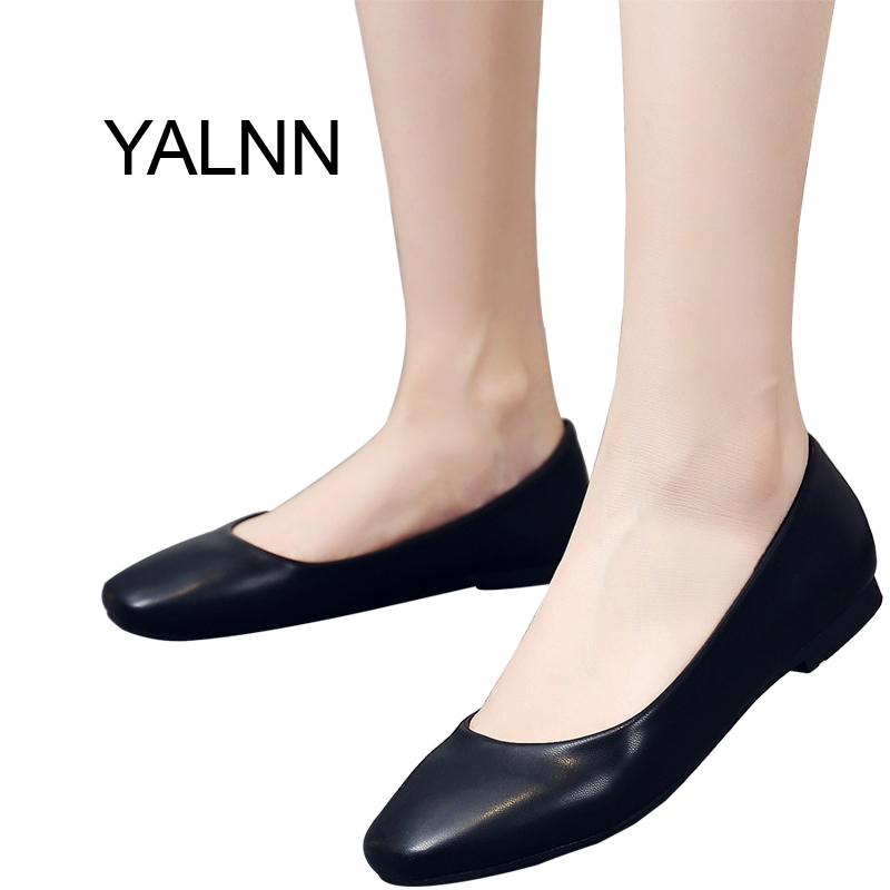 YALNN Autumn Sqaure Toe Soft Solid Black and White 1cm Heels Ballet Flats Shoes for Women and Girls