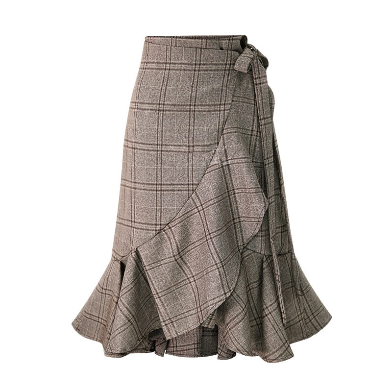 HDY Haoduoyi Women Plaid Skirts Pleated Hem Ruffles Korean Fashion Casual skirt Irregular Bottom Spring Summer Asymmetrical New 5