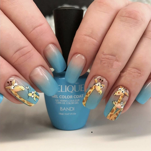 Image 3 - Autocollants pour ongles 3D, 1 feuille dautocollants, Super mignons, autocollants à motifs hérisson, girafe, coccinelle pour décoration des ongles