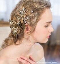 Dower me Exquisite Vintage Leave Rhinestone Wedding Headpiece Handmade Bridal Hair Clip Comb Jewelry Women Accessories Tiara