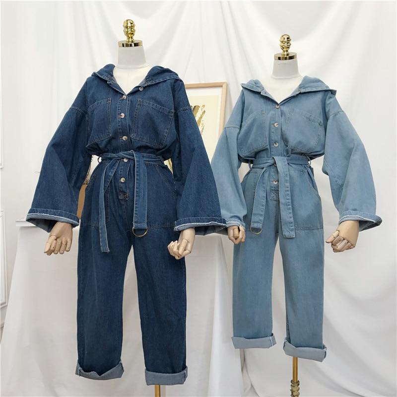 Printemps 2019 Nouvelles Femmes Coréennes de Denim Combinaisons à manches longues pantalon jeans Filles Salopette jeans baggy Pantalon Étudiants grande taille