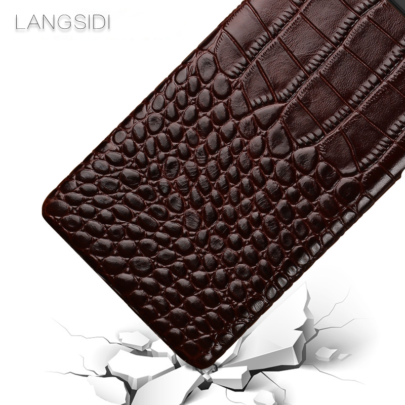 wangcangli For Huawei Mate 7 phone case Luxury handmade genuine crocodile leather back cover in Half wrapped Cases from Cellphones Telecommunications