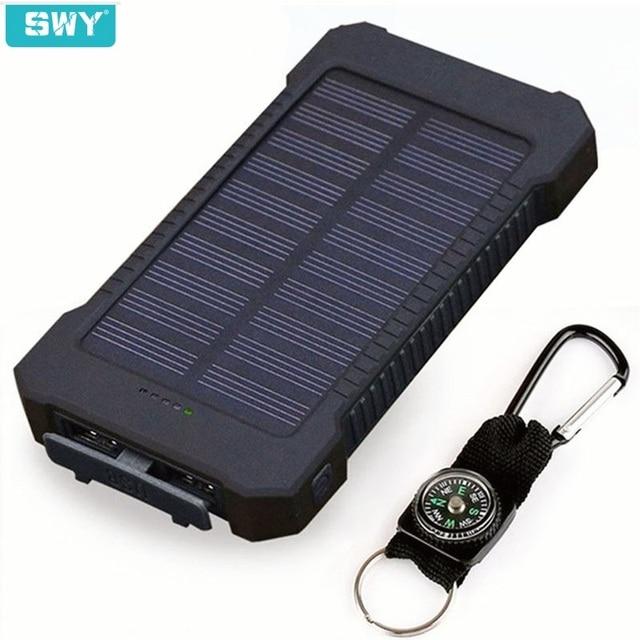 Водонепроницаемый Солнечный 30000 mAh Солнечный Банк питания зарядное устройство 2 usb порта Внешнее зарядное устройство банк питания для Xiaomi с светодиодный свет