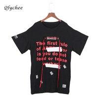 Qlychee Punk Street Style Long T Shirts For Women Letter Print Ribbon Top Tees Shirt Female
