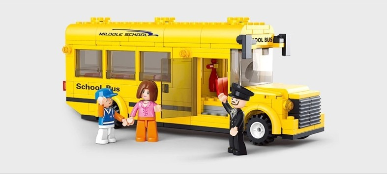 Sluban B0507 City yellow mini school bus 3D Construction Plastic Model Building Blocks Bricks Compatible With Legoe