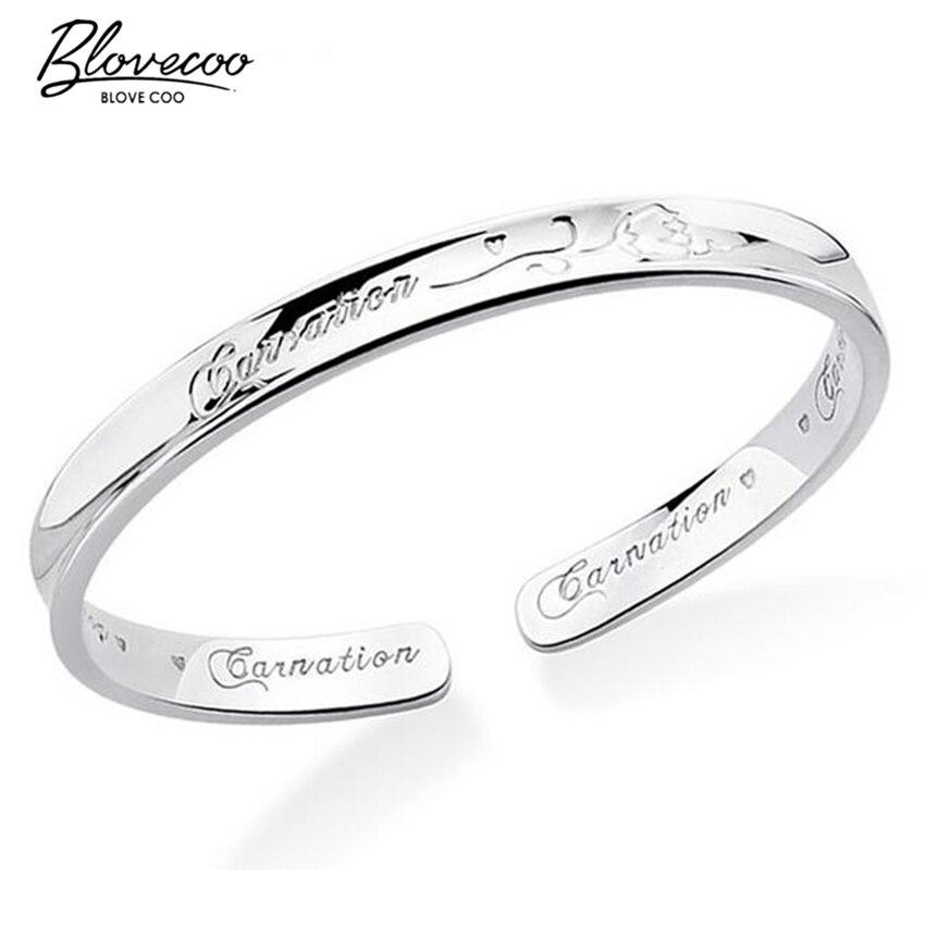 Pulsera de plata fina 999 brazalete de flores de mujer rosas de Acción de Gracias pulsera de apertura pulsera de plata