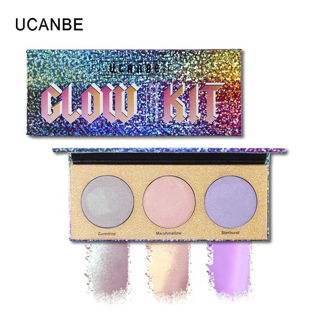 UCANBE marca camaleón brillo resaltador paleta de contorno del rostro maquillaje iluminador láser brillo Kit de Aurora destacar cosméticos