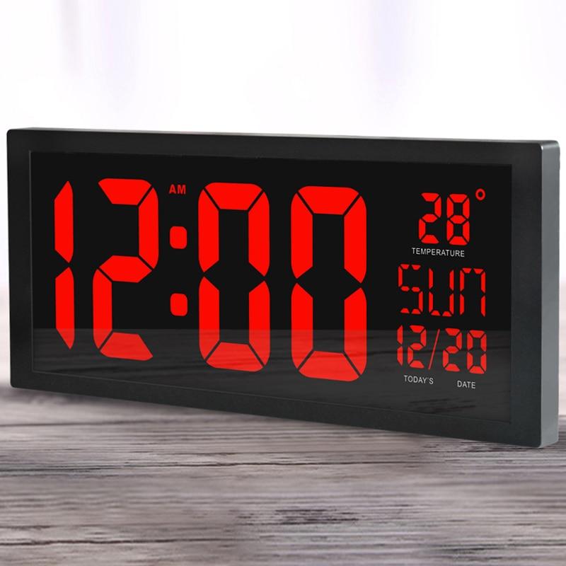 Grote scherm grote Elektronische wandklok desktop LED Digitale Kalender klok thermometer zomertijd voor keuken klok muurschildering-in Wandklokken van Huis & Tuin op  Groep 1