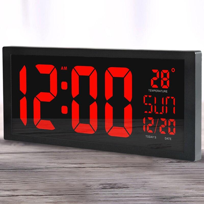 كبيرة شاشة كبيرة الإلكترونية ساعة حائط سطح المكتب LED الرقمية ساعة التقويم ميزان الحرارة الصيفي للمطبخ ساعة جدارية-في ساعات الحائط من المنزل والحديقة على  مجموعة 1