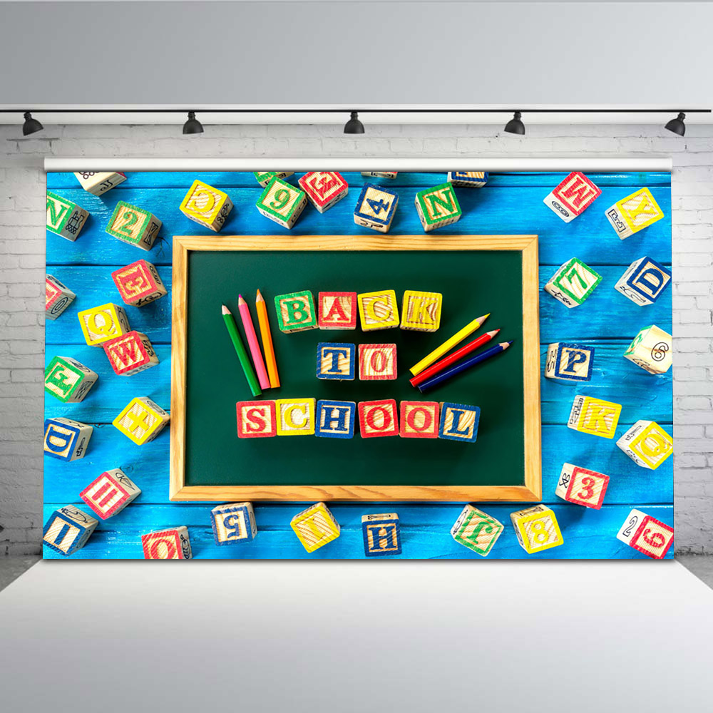 Mehofoto Letters and numbers Photo Backdrops Back to School Background Blue Wood Pens Backdrop Booth Studio G-651