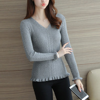 DXHKDYZ 2017 autumn and winter new twist V-neck knitted bottoming shirt ladies lotus leaf Slim was thin sweater tide