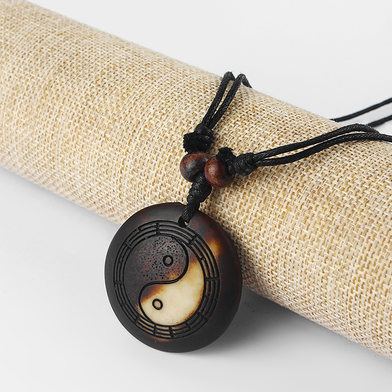 Yak Bone Yin Yang Resin Ba Gua Necklace