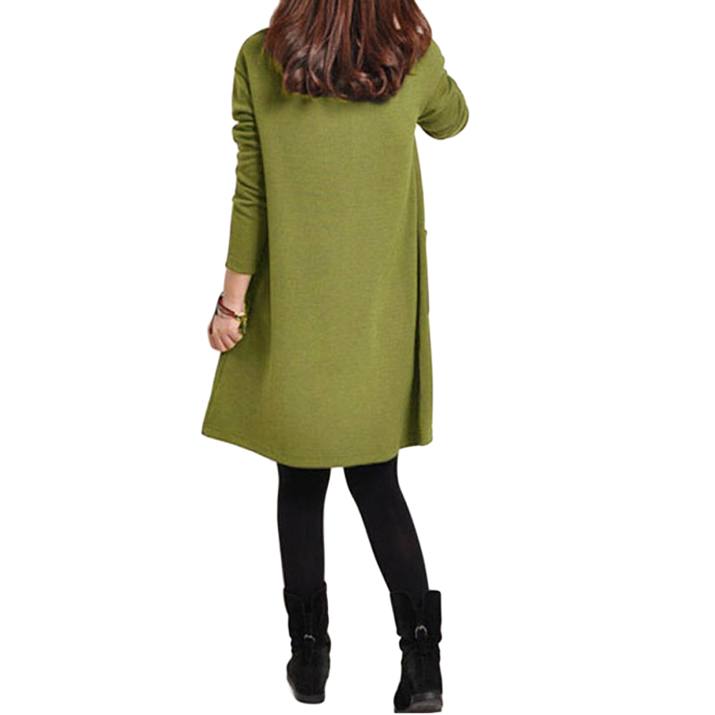 HTB1BzalQpXXXXccXXXXq6xXFXXXC - 2018 Autumn Dress Women Winter Long Sleeve Pocket Dress Solid O Neck Casual Loose Party Dresses Fashion Vestidos Plus Size S-5XL