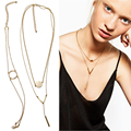 2017 Long ZA Necklace Women Exaggerated Metal V Charm Exo Multilayers Chain Hip-hop Statement Necklace Simplicity Jewelry NK845